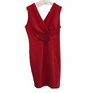 Frank Lyman red vneck sleeveless dress size 10